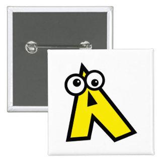 Funny Monogram Letter A 2 Inch Square Button