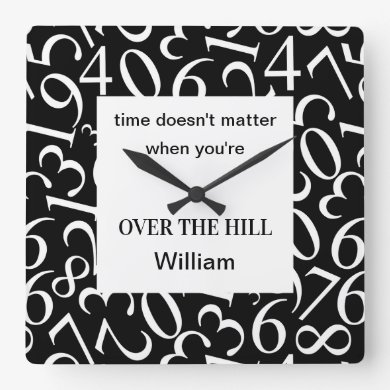 Funny Monogram Over The Hill Gifts Square Wall Clock