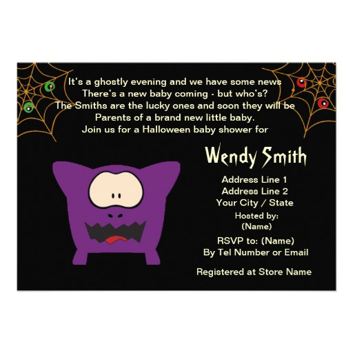 funny monster baby shower invitation cards 5 x 7 invitation card