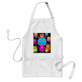 Funny Monster Bash Cute Creatures Party Adult Apron