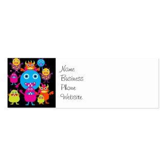 Funny Monster Bash Cute Creatures Party Double-Sided Mini Business Cards (Pack Of 20)