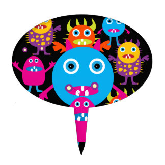 Funny Monster Bash Cute Creatures Party Cake Topper
