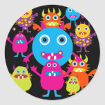 Funny Monster Bash Cute Creatures Party Classic Round Sticker