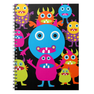 Funny Monster Bash Cute Creatures Party Spiral Note Book