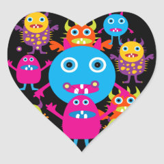 Funny Monster Bash Cute Creatures Party Heart Stickers