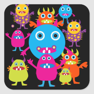Funny Monster Bash Cute Creatures Party Square Sticker