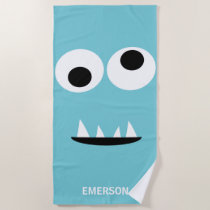 Funny Monster Face Kids Personalized Light Blue Beach Towel