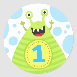 Funny monster first birthday stickers for kids