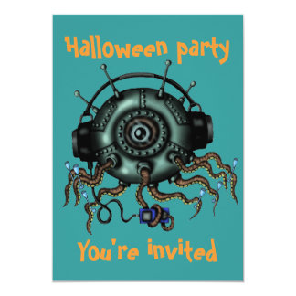 "Funny monster octopus Halloween party invitation 5"" X 7"" Invitation Card"
