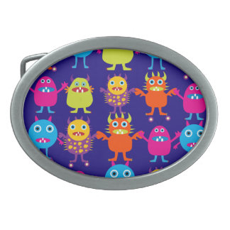 Funny Monster Party Cute Creatures on Blue Oval Belt Buckles