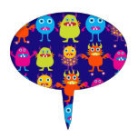 Funny Monster Party Cute Creatures on Blue Cake Topper