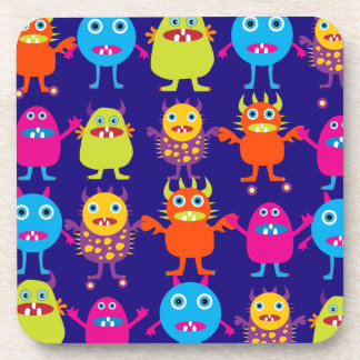 Funny Monster Party Cute Creatures on Blue Coaster
