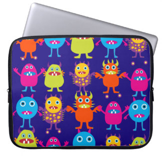 Funny Monster Party Cute Creatures on Blue Laptop Sleeve