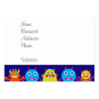 Funny Monster Party Cute Creatures on Blue Large Business Card