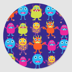 Funny Monster Party Cute Creatures on Blue Round Sticker