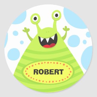 Funny monster personalized name stickers for kids