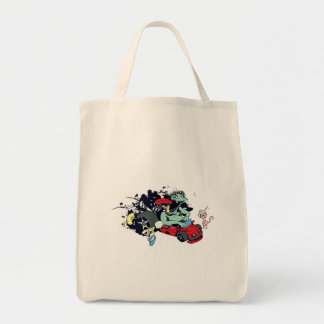 funny monster racer pit stop vector cartoon grocery tote bag