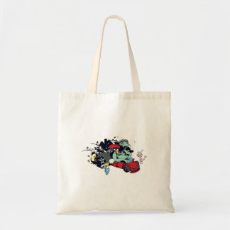 funny monster racer pit stop vector cartoon budget tote bag