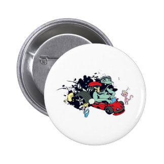funny monster racer pit stop vector cartoon 2 inch round button