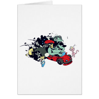 funny monster racer pit stop vector cartoon greeting card