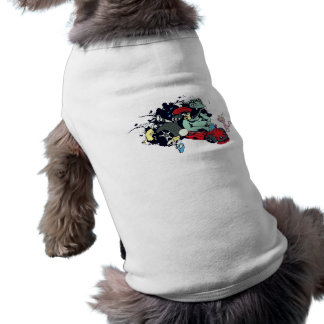 funny monster racer pit stop vector cartoon doggie t-shirt