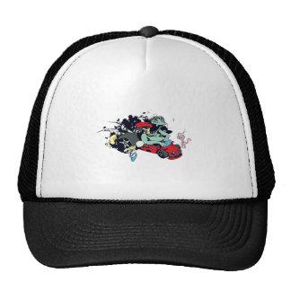 funny monster racer pit stop vector cartoon trucker hat
