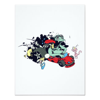 funny monster racer pit stop vector cartoon 4.25x5.5 paper invitation card
