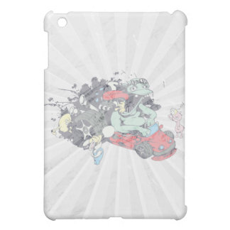 funny monster racer pit stop vector cartoon iPad mini cover