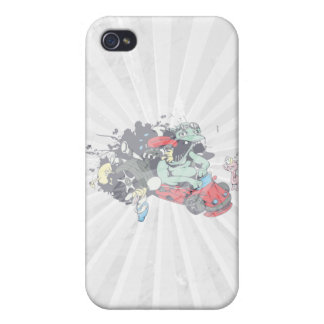 funny monster racer pit stop vector cartoon iPhone 4/4S case