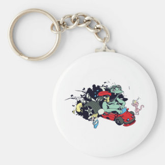 funny monster racer pit stop vector cartoon basic round button keychain