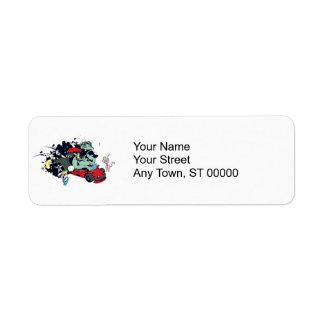 funny monster racer pit stop vector cartoon return address label
