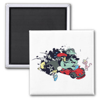 funny monster racer pit stop vector cartoon 2 inch square magnet