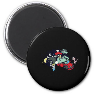 funny monster racer pit stop vector cartoon 2 inch round magnet