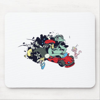funny monster racer pit stop vector cartoon mouse pad