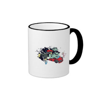 funny monster racer pit stop vector cartoon ringer coffee mug