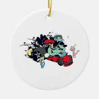 funny monster racer pit stop vector cartoon Double-Sided ceramic round christmas ornament
