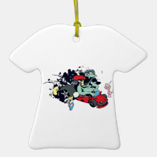 funny monster racer pit stop vector cartoon Double-Sided T-Shirt ceramic christmas ornament