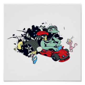 funny monster racer pit stop vector cartoon poster
