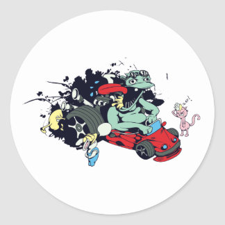 funny monster racer pit stop vector cartoon classic round sticker