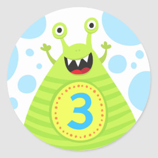 Funny monster third birthday stickers for kids