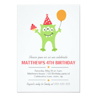Funny monster with balloon and cupcake birthday 5x7 paper invitation card