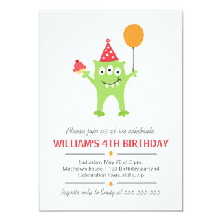 "Funny monster with balloon and cupcake birthday 5"" x 7"" invitation card"