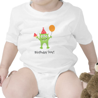 Funny monster with balloon and cupcake birthday baby bodysuits