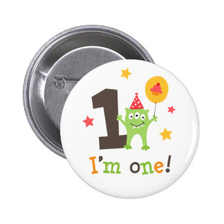 Funny monster with balloon and cupcake I am one Pinback Buttons