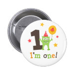 Funny monster with balloon and cupcake I am one Pinback Button