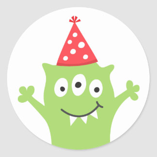 Funny monster with party hat classic round sticker