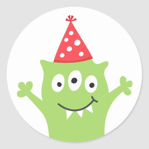 Funny monster with party hat round stickers