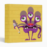 funny monster with pencil notebook 3 ring binders