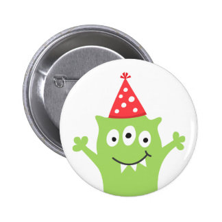 Funny monster with red party hat 2 inch round button