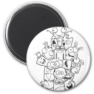 funny monsters 2 inch round magnet